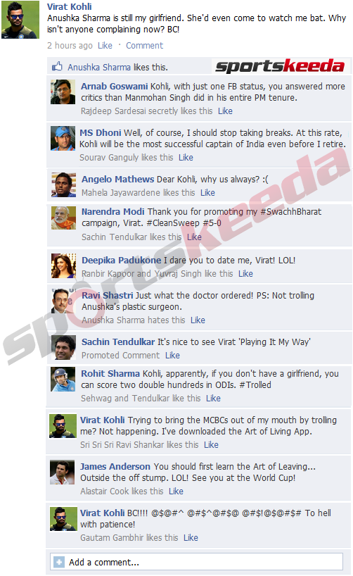 FB Wall: Virat Kohli slams critics on Facebook after 5-0 win