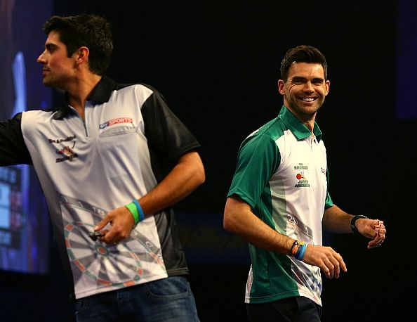Alastair Cook and James Anderson face off in World Darts Championship