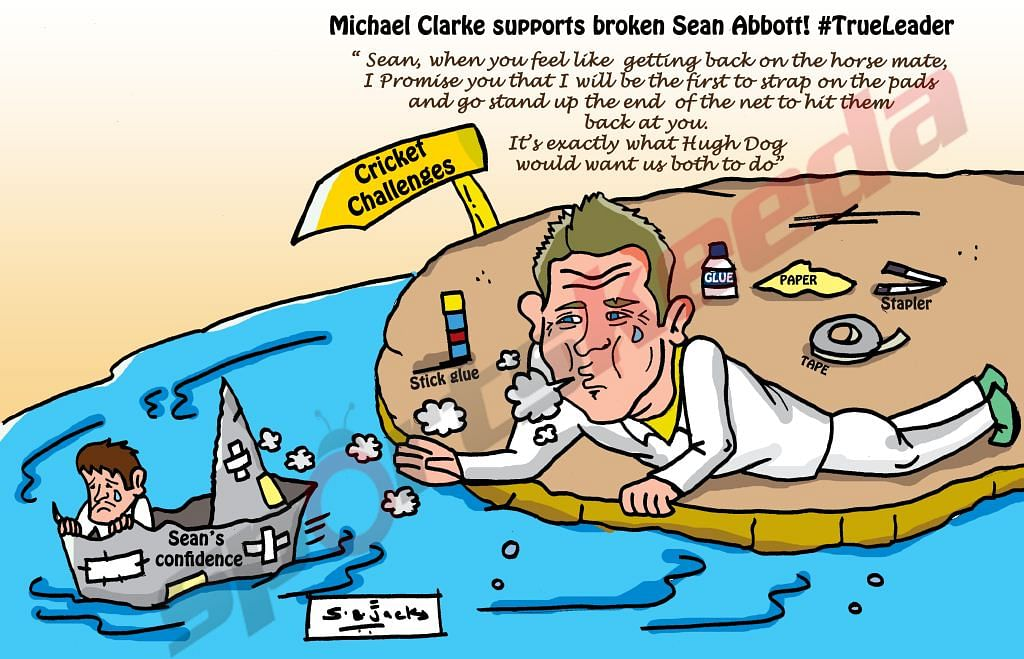 Comic: Michael Clarke supports a broken Sean Abbott