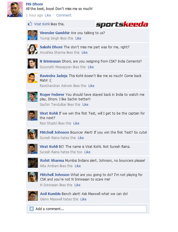 FB Wall: MS Dhoni wishes teammates good luck on Facebook ahead of the 1st Test