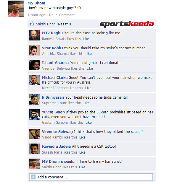 Fake FB Wall: MS Dhoni gets trolled after sporting new hairstyle