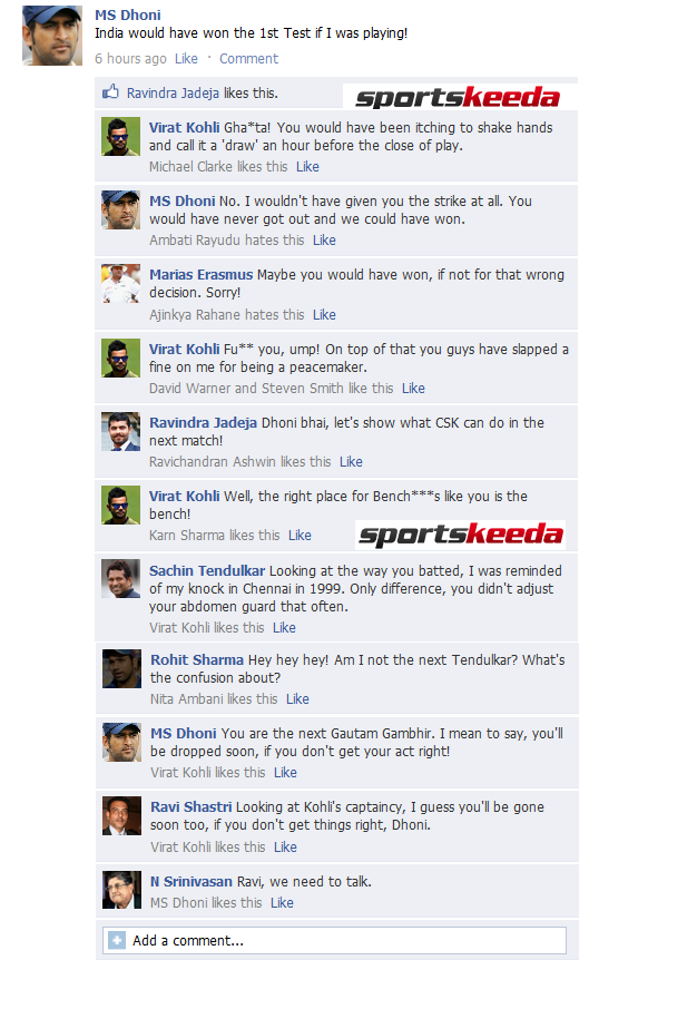 FB Wall: MS Dhoni and Virat Kohli get into a fight on Facebook after Adelaide Test