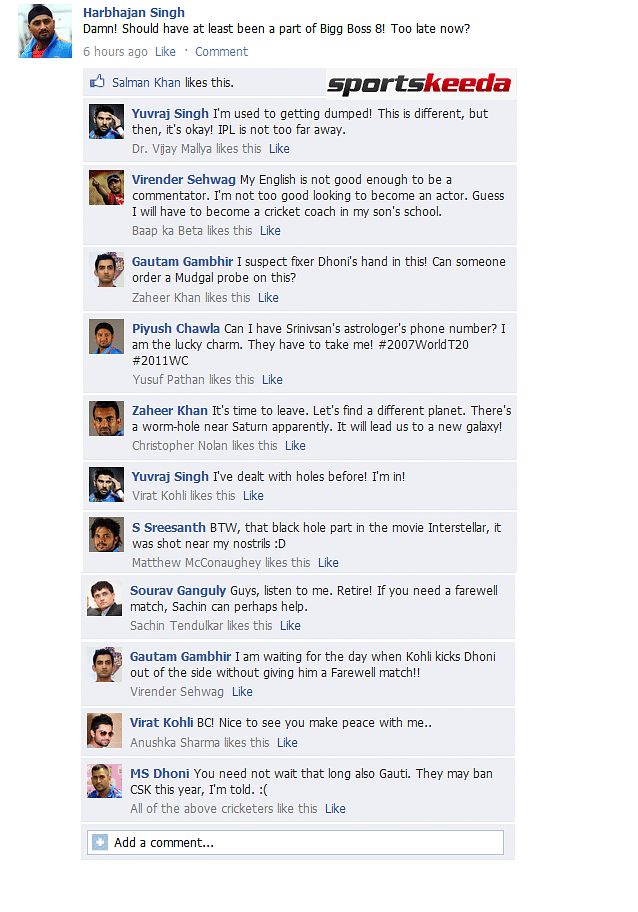 Fake FB Wall: Virender Sehwag, Yuvraj Singh. discuss future after being ignored for World Cup