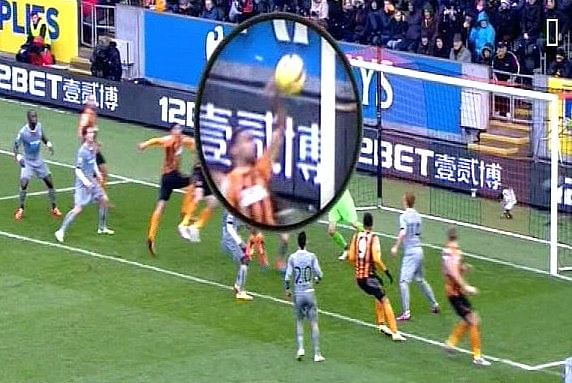 Video: Hull City's Ahmed El Mohamady attempts to recreate the 'hand of god' against Newcastle United