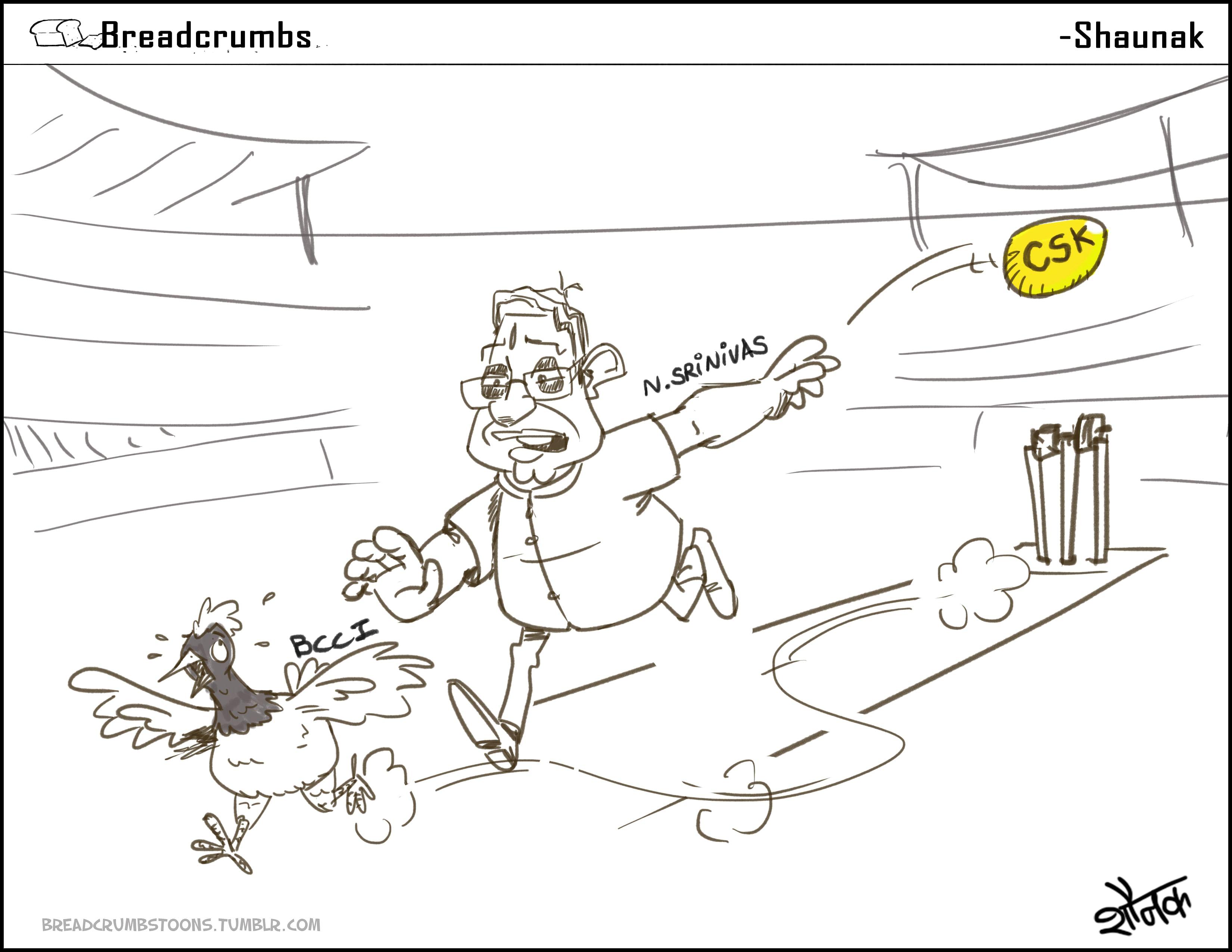 Comic: N. Srinivasan's dilemma: The chicken or the golden egg