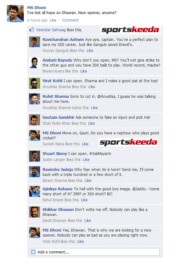 FB Wall: MS Dhoni wants new opener for the World Cup