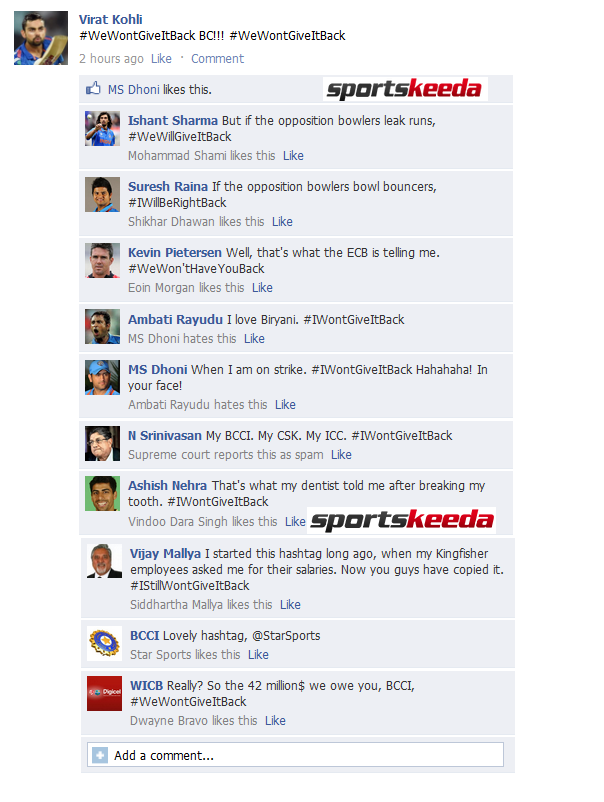 FB Wall: Kohli promotes #WeWontGiveItBack on Facebook, what happens next is hilarious