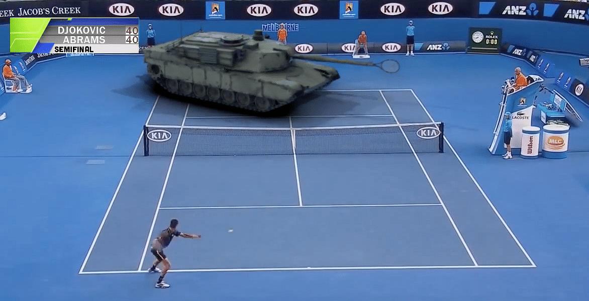 Humour: Djokovic plays tennis against a tank