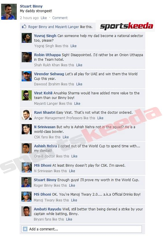 FB Wall: Stuart Binny gets trolled after making it to India's World Cup squad