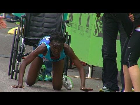 Hyvon Ngetich crawls over finish line to bring the sporting gods down to earth
