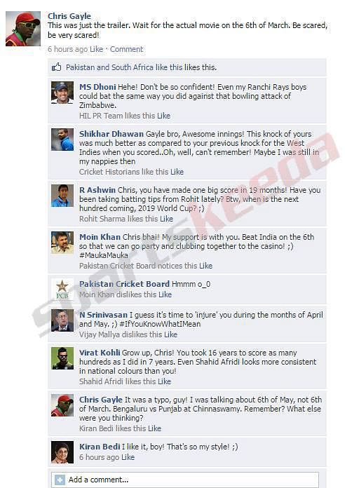 Chris Gayle warns India on FB wall, gets trolled