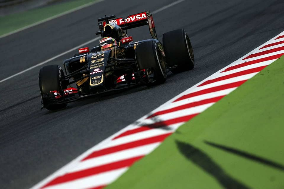 Pastor Maldonado sets the quickest time for Lotus in Barcelona test