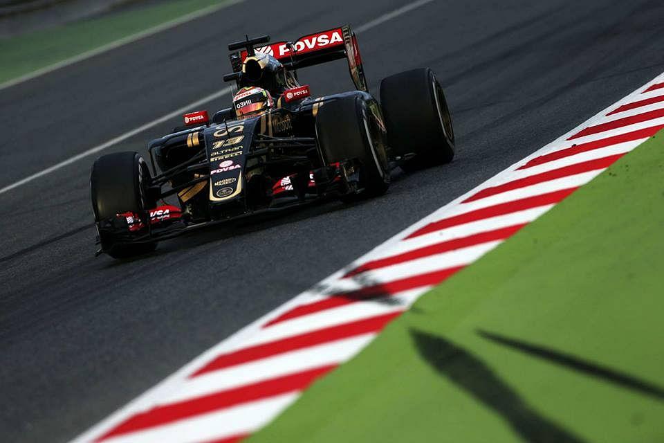 Pastor Maldonado sets the quickest time for Lotus in Barcelona test