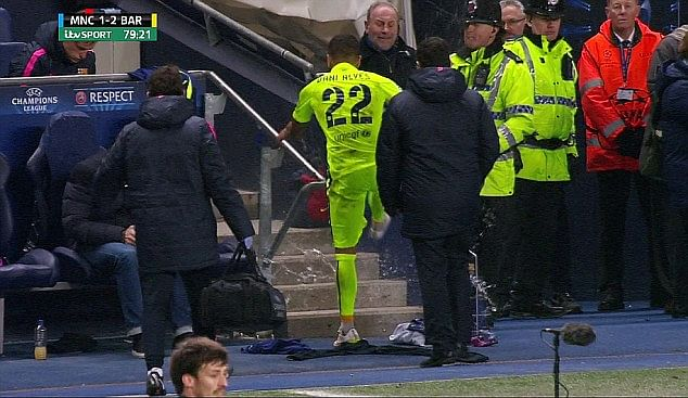 Video: Dani Alves kicks and shatters water bottle after being substituted against Manchester City
