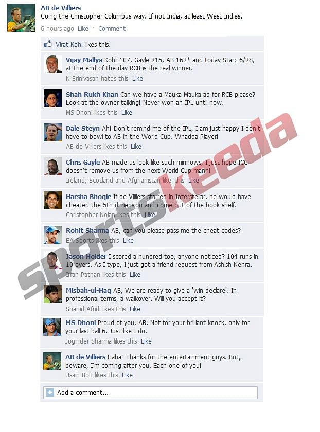 Fake FB Wall: AB de Villiers warns teams after West Indies knock