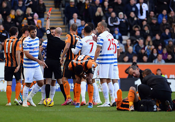 Video: QPR's Joey Barton gets sent off after hitting Huddlestone in the groin area
