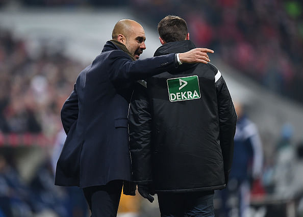 Video: Pep Guardiola hugs fourth official to celebrate Bayern Munich's goal