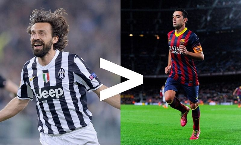 5 Reasons why Andrea Pirlo is greater than Xavi