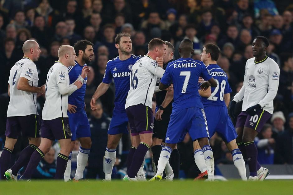 Chelsea and Everton fined for player misconduct during their match last month