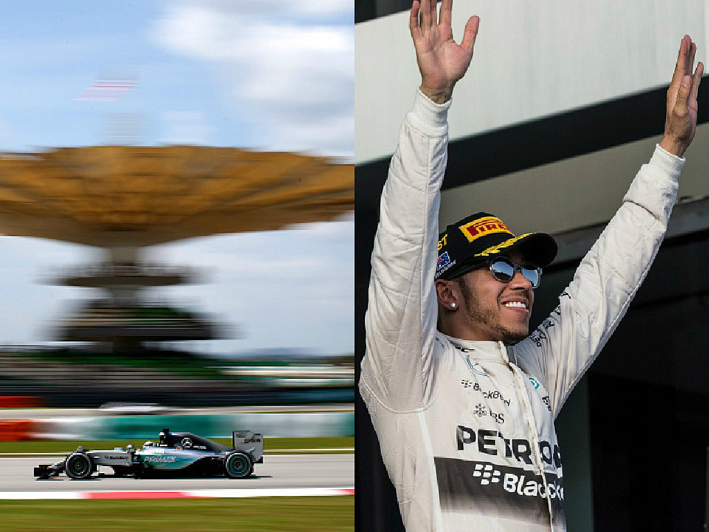 Lewis Hamilton takes pole position for the 2015 Malaysian Grand Prix