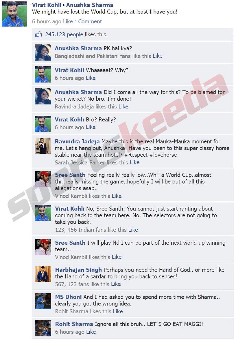 Fake FB Wall: Anushka Sharma is furious with Virat Kohli while Sreesanth pleads for comeback