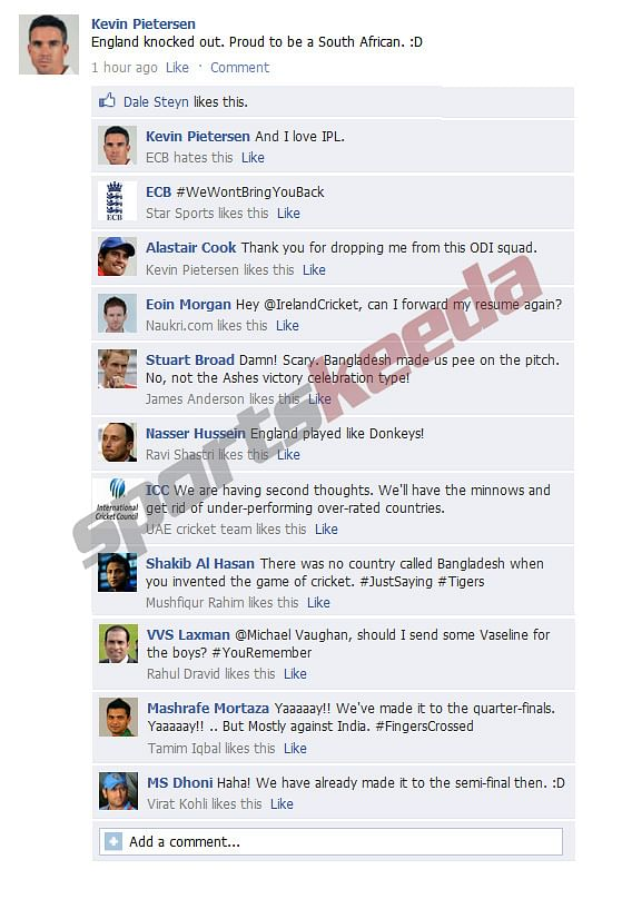 Fake FB Wall: Kevin Pietersen trolls England after World Cup exit