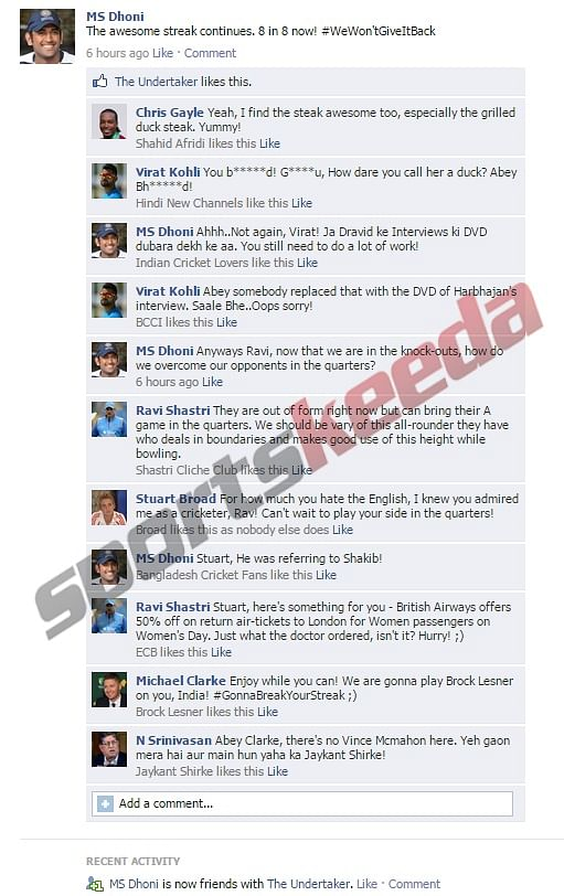Fake FB Wall: Chaos breaks out on MS Dhoni's Facebook wall