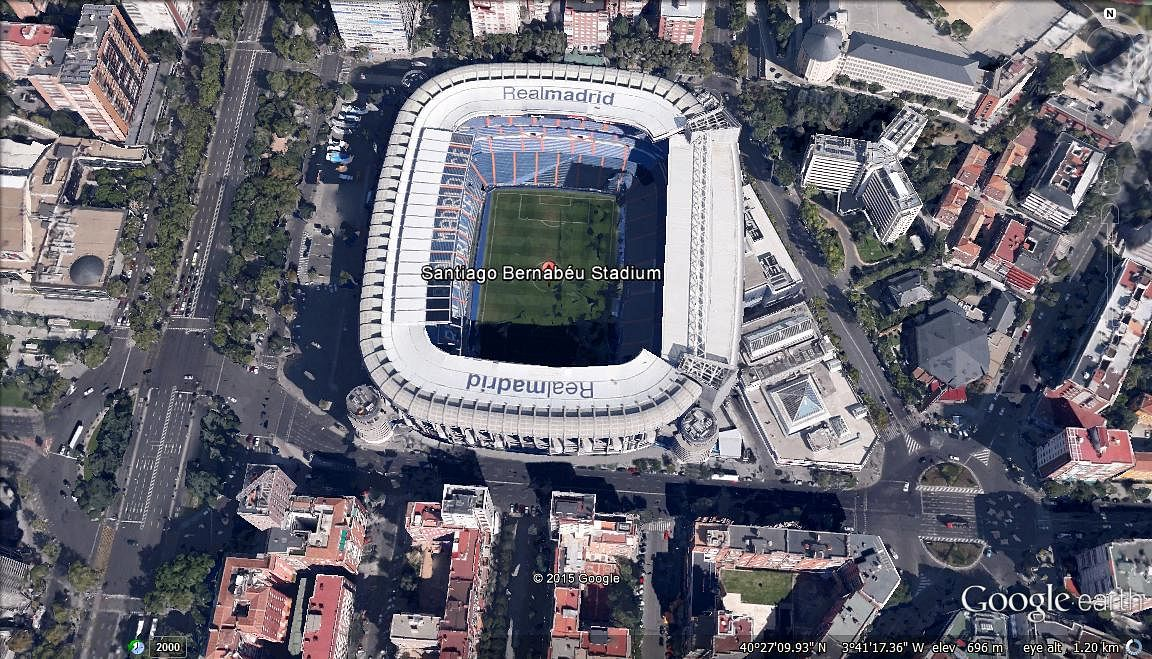 Google Earth view of 10 of the most iconic football stadiums in the world
