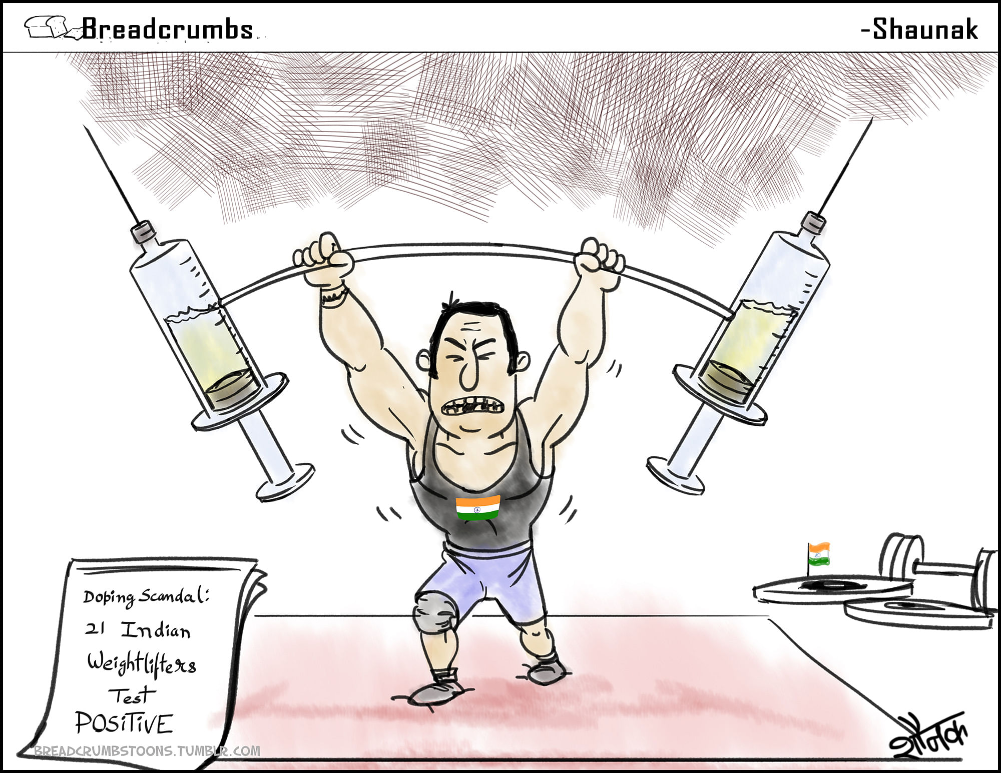 Cartoon: 21 Indian weightlifters suspended for doping