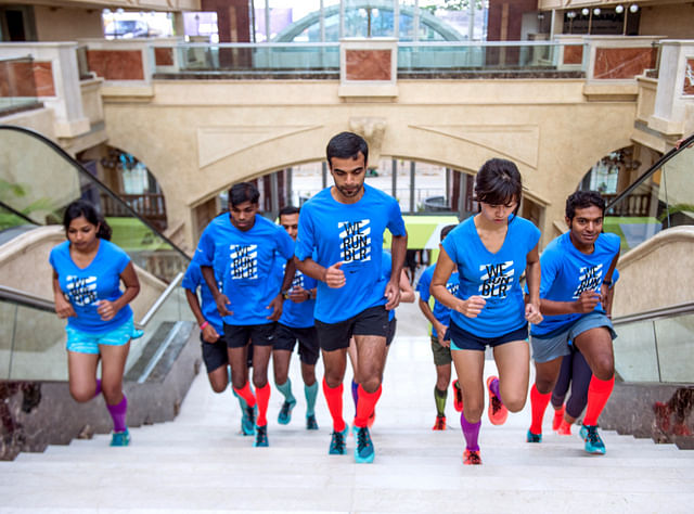 Runners unleash their instincts at the Nike free staircase run