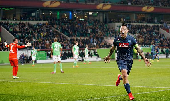 Napoli thrash Wolfsburg 4-1 in Europa League as skipper Hamsik grabs a brace