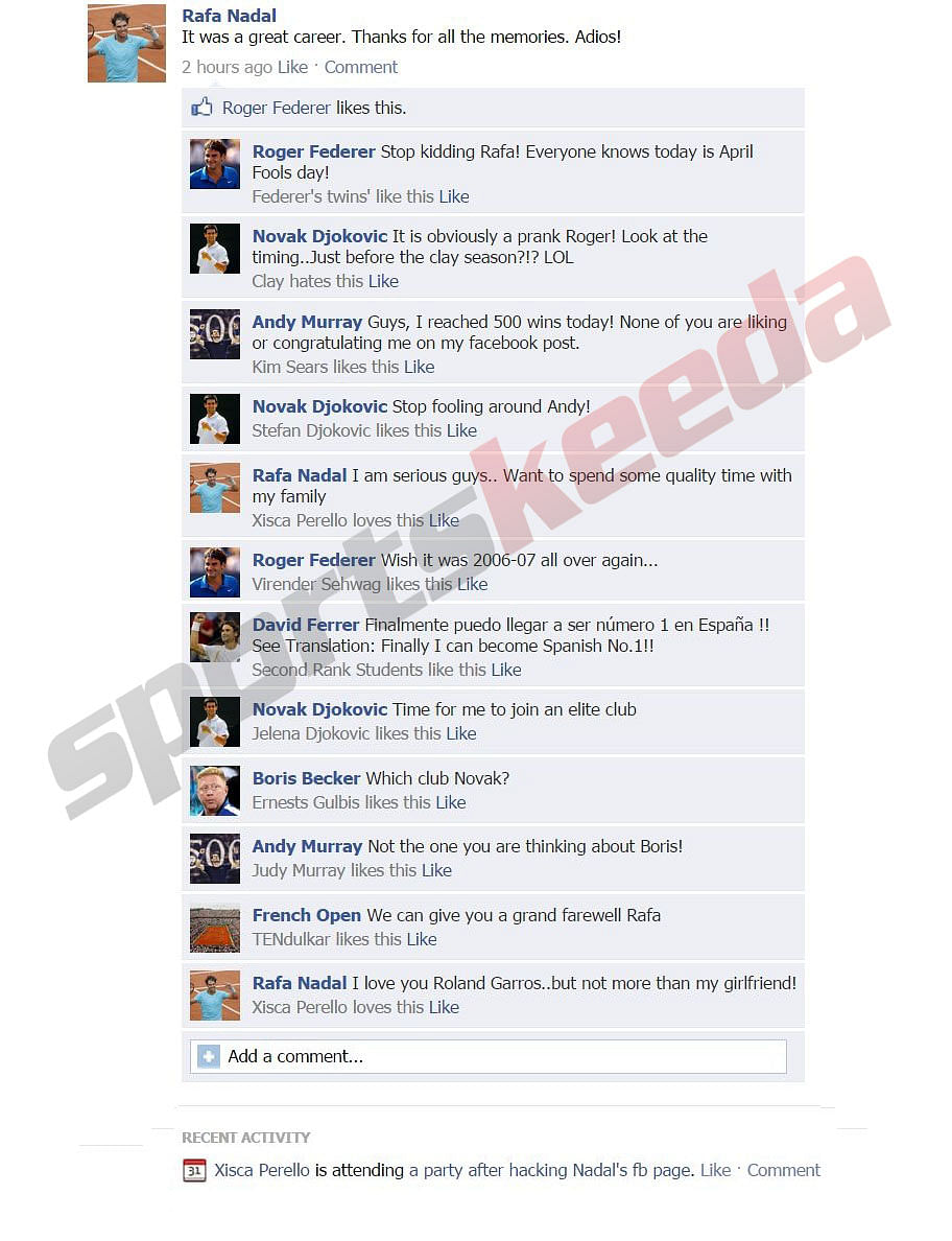 Fake FB Wall: Rafael Nadal announces retirement from professional tennis