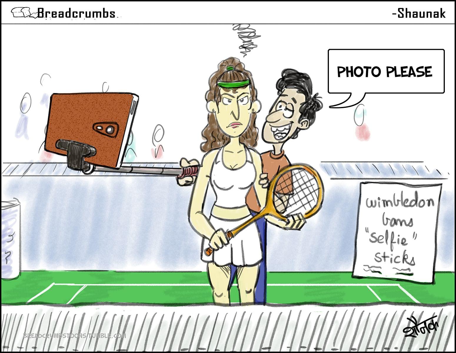 Comic: No selfies at Wimbledon