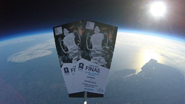 Video: Two FA Cup final tickets sent to space and brought down to earth for lucky fan to find