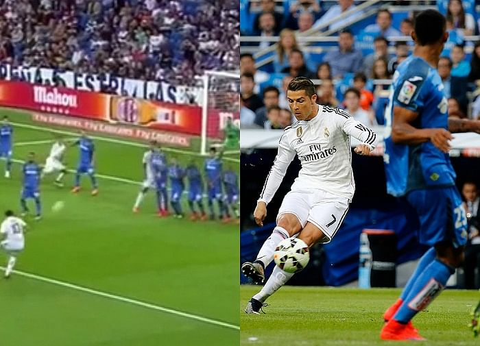 Who scored the better free-kick against Getafe: Cristiano Ronaldo or James Rodriguez?