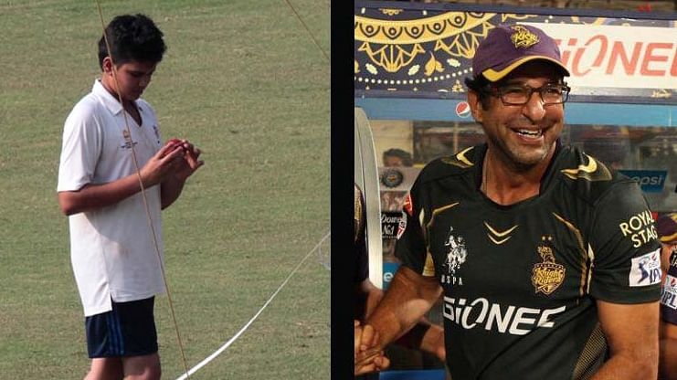 Wasim Akram gives bowling classes to Arjun Tendulkar