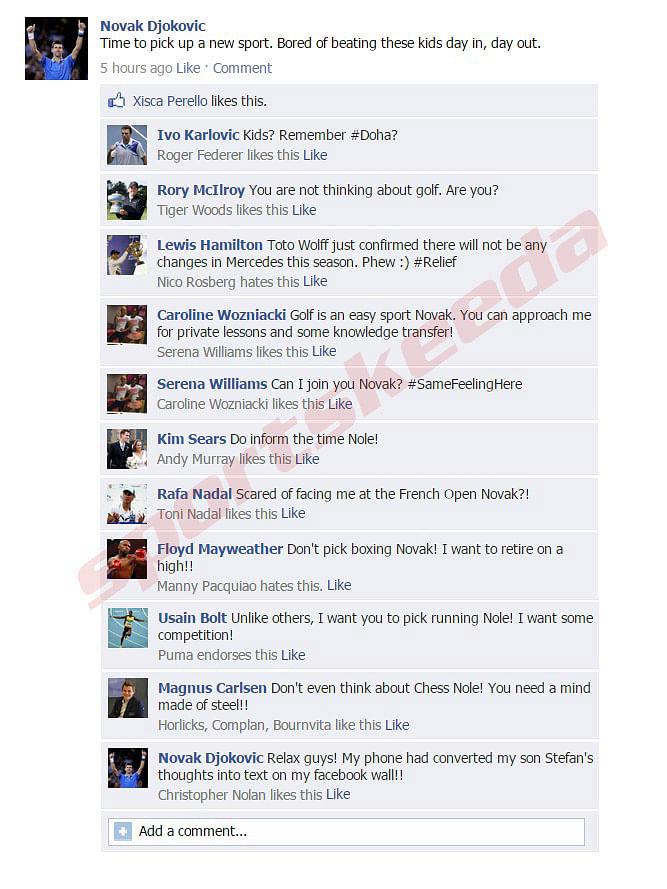 Fake FB Wall: Novak Djokovic to pick up a new sport