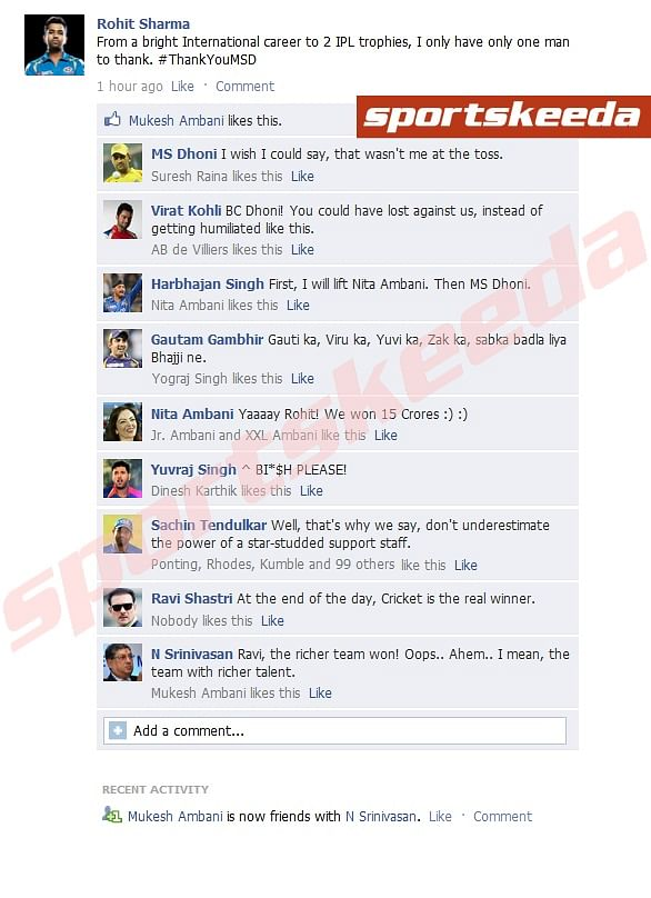 Fake FB Wall: Rohit Sharma trolls MS Dhoni after IPL final
