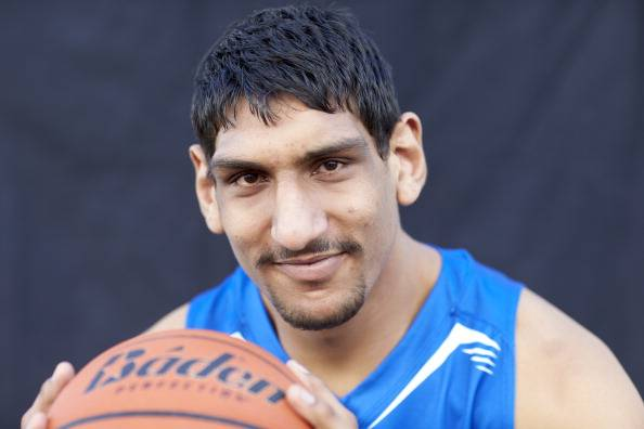 India's Satnam Singh works out for the Boston Celtics
