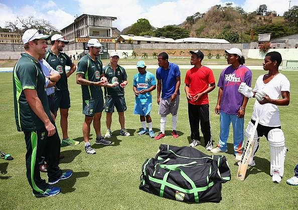 Australian cricketers donate playing gears to Kalinago people