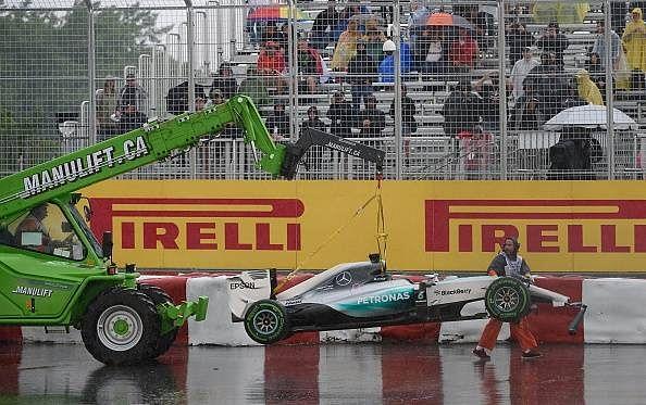 Hamilton crashes at the Canadian Grand Prix