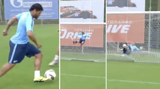 Video: Hulk\'s shot in training sends goalkeeper \