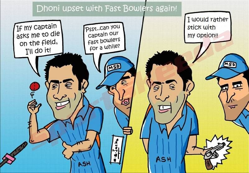 Comic: Dhoni is once again upset with his fast bowlers