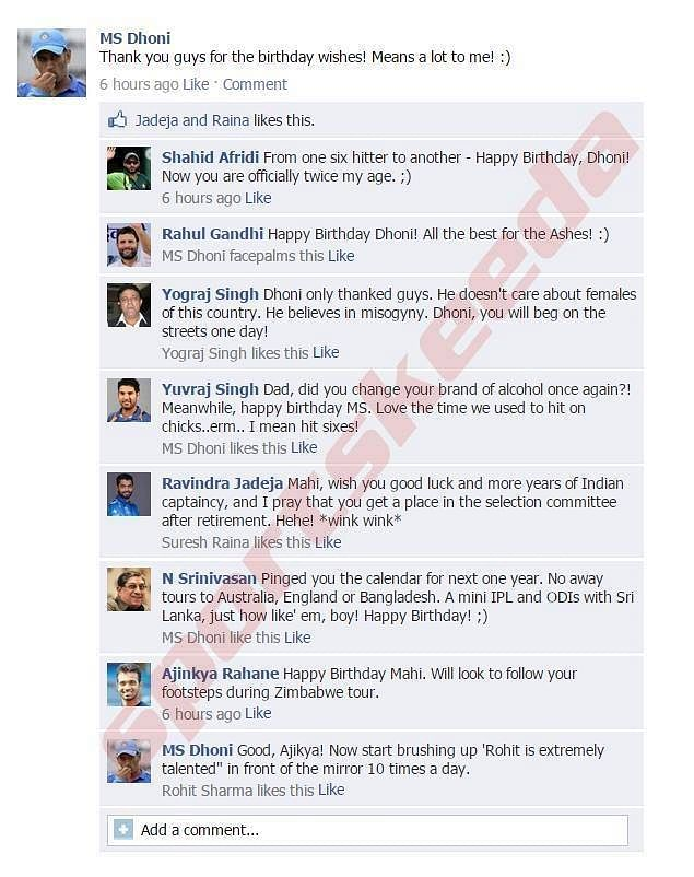 Fake FB wall: MS Dhoni updates FB status on his birthday