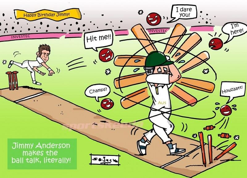 Comic: James Anderson makes the ball talk, literally!