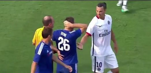 Video: Zlatan Ibrahimovic delivers brutal elbow to John Terry during PSG-Chelsea clash
