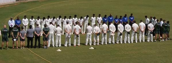 Players and match officials pay tribute to A.P.J. Abdul Kalam during India 'A' v Australia 'A' match