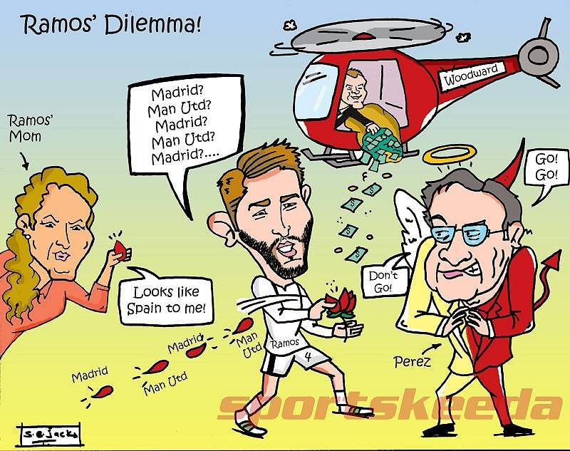 Comic: Manchester United or Real Madrid? Sergio Ramos is in a dilemma