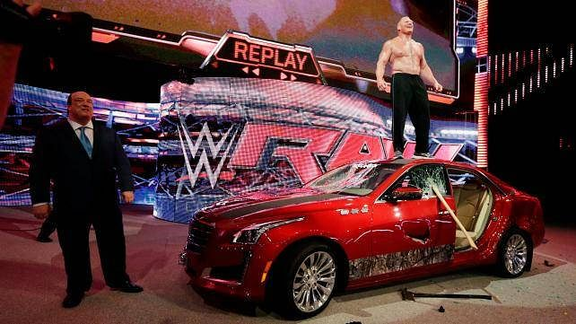 WWE Monday Night Raw Results: July 7, 2015 - Brock Lesnar destroys J&J Security's Cadillac