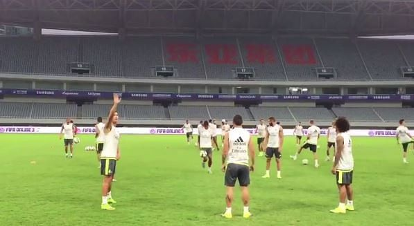 Video: Cristiano Ronaldo does a no-look flick during Real Madrid training in Shanghai